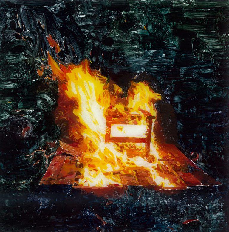 Burning chair, 2010 | Oil on acrylic glass | 26 × 26 cm